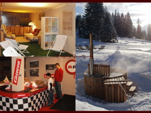 Top Left: Head to the relax Room after your shot in the jacuzzi/hot-tub, Bottom Left: The Fast Room, Right: The Hot-tub in snow with a lovely sunset!