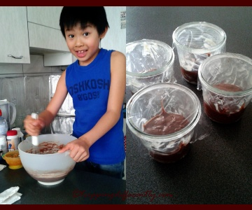 Left: Tobias helping to mix the batter, Right: the mini cakes before they go into the fridge.