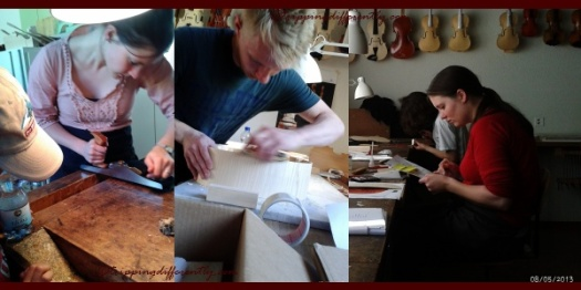 Students hard at work. It takes them about 6 months to make a violin/viola and a year to make a cello.