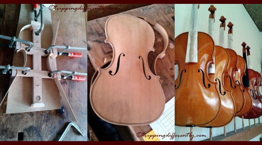 Left to Right: forming the shape (1 of 2 methods), parts made, lacquer drying...