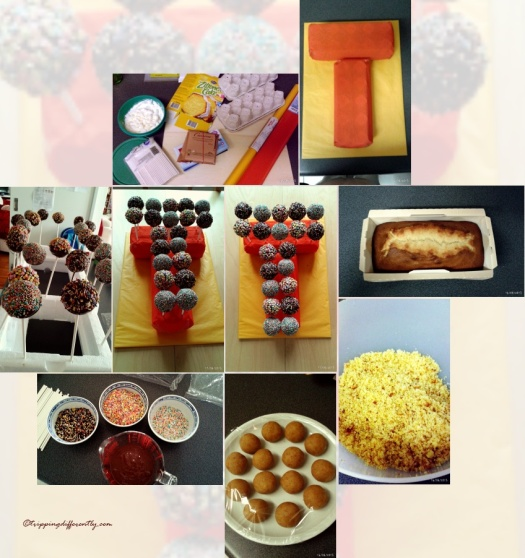 """The process goes from top right, round to bottom left, then onto bottom right & then up and into the middle with the shots of the assembled """"cake""""."""
