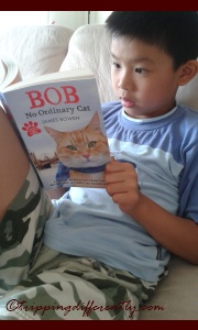 Look at him, all serious about reading the book :)