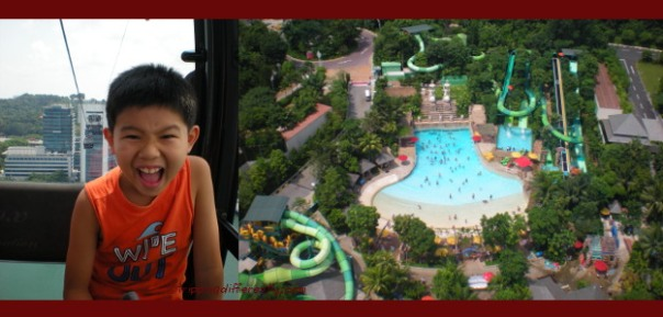 """Tobias all excited on the cable-car ride to Sentosa. A view of the waterpark as we """"flew"""" over it."""