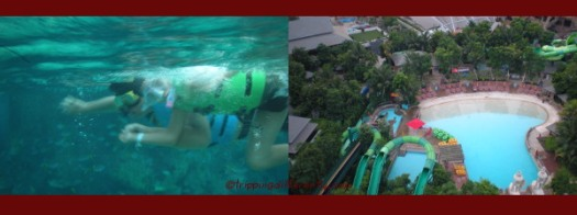 Left: Tobias and my brother snorkling. Right: The overhead view of the empty and silent waterpark at the end of the day.