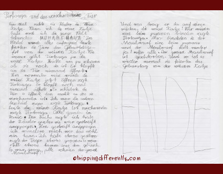 His handwriting, spelling etc... is not great but i LOVE the story!