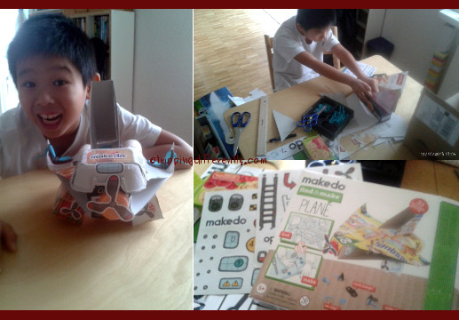 We used some parts from a Makedo set we had bought in Singapore.