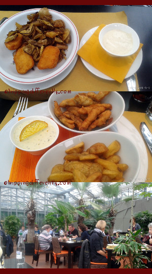 Top: Chicken Nugget and Banana Chips with an unusual dip. Middle: Sturgeon Fingers, Chips and a great housemade tartar sauce. Bottom: The restaurant. This is called the Terrace & there is another part which looked more classy.