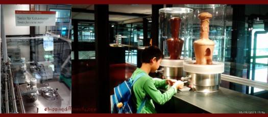 Left: Inside the factory, Right: Tasting yummy chocolate.