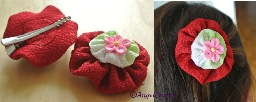 Handmade Suffolk-puff Flower Hairclip - made with Japanese Crinkle cloth. Flower measures 6cm, silver crocodile clip measures 6cm. Double layer design with pink fimo flower center. Retail Price: $18 - yours for simply sharing our FB page and getting your friends to LIKE us.