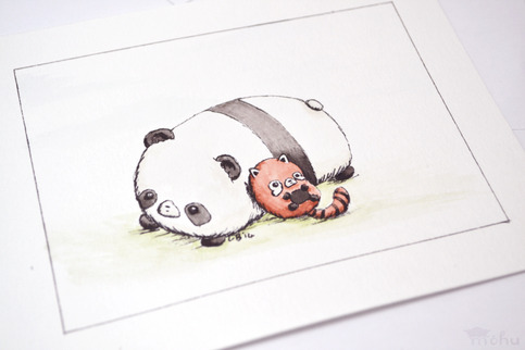 pandafriendsno5watercolourpainting