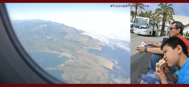 Left: View from the plane, Right: Having lunch...