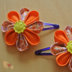 Sunshine Orange Kanzashi Flower Hairclips - US$8.00