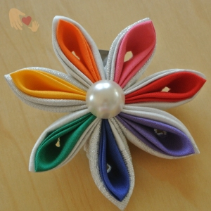 Rainbow Kanzashi Flower Hairclip - US$10.00 - comes as a single flower.
