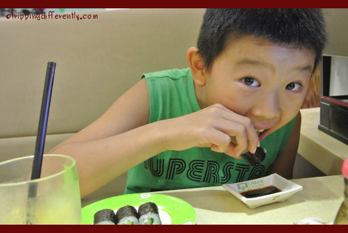 He absolutely loves his sushi!