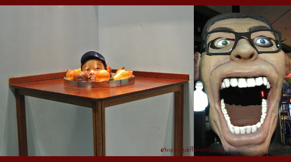 Having fun with optical illusions and that giant mouth we went through...