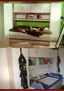 Top: Tobias enjoying the bed in the showroom. Bottom: Bed/Cupboards set up in his room with all his stuff in/on them...