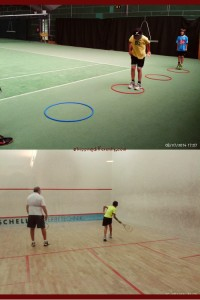 Top: Warm-up exercise during tennis. Bottom: Tobias trying to hit that tiny squash ball.