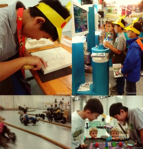 Top Left: T trying his hand at wood craving, Top Right: T and his friend testing new Wii games, Bottom Right: T and his friend trying out a funny boardgame, Bottom Left: Trying out a new cycle.