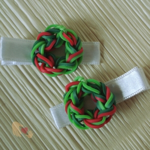 Adorable Mini Christmas Wreaths on pretty white ribboned-hairclips...