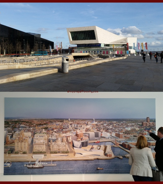 Top: The Museum, looking at it from the Mersey. Bottom: An amazing painting of the Liverpool city area.