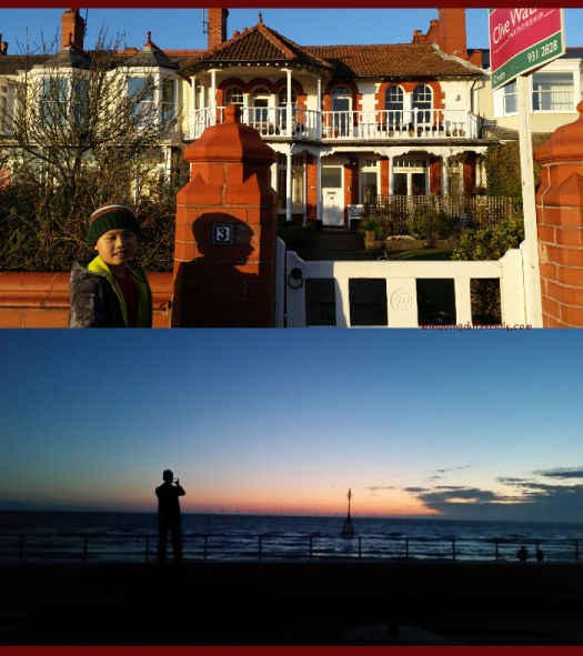 Top: This house is faces the beach and was for sale - isn't it lovely? Bottom: The sunset made for a lovely end to the day.