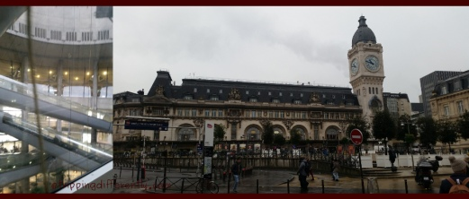 Left: The interior of Charles de Gaulle Airport is so retro-space-like with its plastic covered escalators criss-crossing each other. Right: What a beautiful building Gare du Lyon is.
