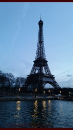 View of the Eiffel Tower from the River Seine, during our evening river cruise.