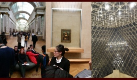 Left: If this is the size of the crowd during low season, i don't want to be here at high season. Middle: This is as close as i got to the Mona Lisa, Right: View of the glass pyramid from below.