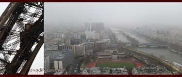 Left: Going up the Eiffel Tower, Right: It was fogging that morning so this was our view from the top.