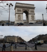 Top: Arc de Triomphe, Bottom: Watching the traffic negotiations around the circle which the Arc stands on is frightening and amusing at the same time.